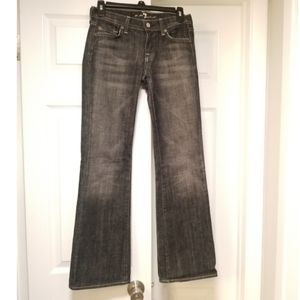 7 for All Mankind distressed blk bootcut jeans, 25